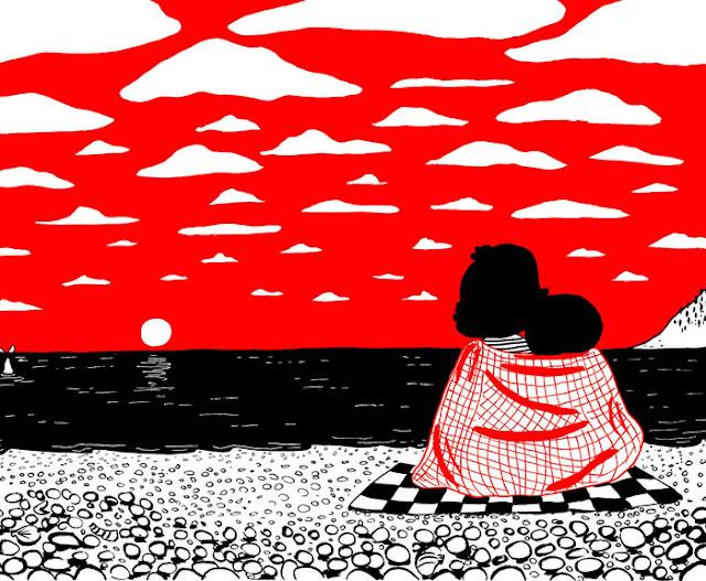 Imagen albúm ilustrado Soppy puesta de sol en pareja