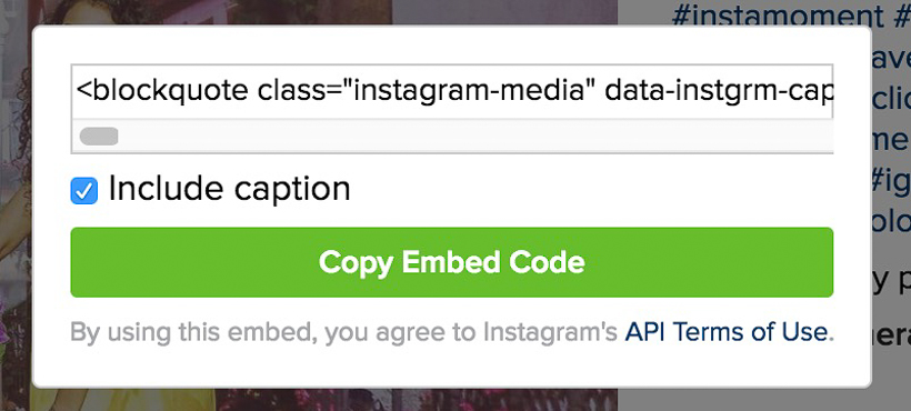 1. Open the photograph in Instagram, which you want to embed.  2. Notice 3 dots parallel comment text box, which is on right side of 'Add a comment...'  3. Tap on these 3 dots  4. Click on 'Embed' option in the dialog launched after clicking these 3 dots.  5. Below shown dialog would be shown with some code.  5. Click on the button 'Copy Embed Code' and paste this code to your blog/website.  6. Check if this photograph is available in preview.