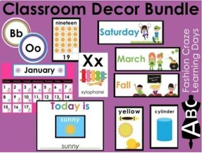 Kindergarten classroom decor bundle, includes weather, calendar, days, months, math posters and more!