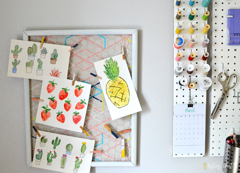 Use chicken wire on a frame with favorite fabric for a memo board in craft room space