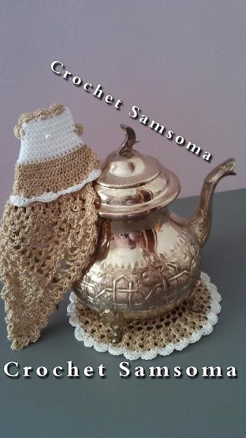الكروشيه المغربي  . كروشيه طقم ابريق الشاي .كروشيه قاعدة ابريق الشاي . كروشيه مساكة ابريق الشاي