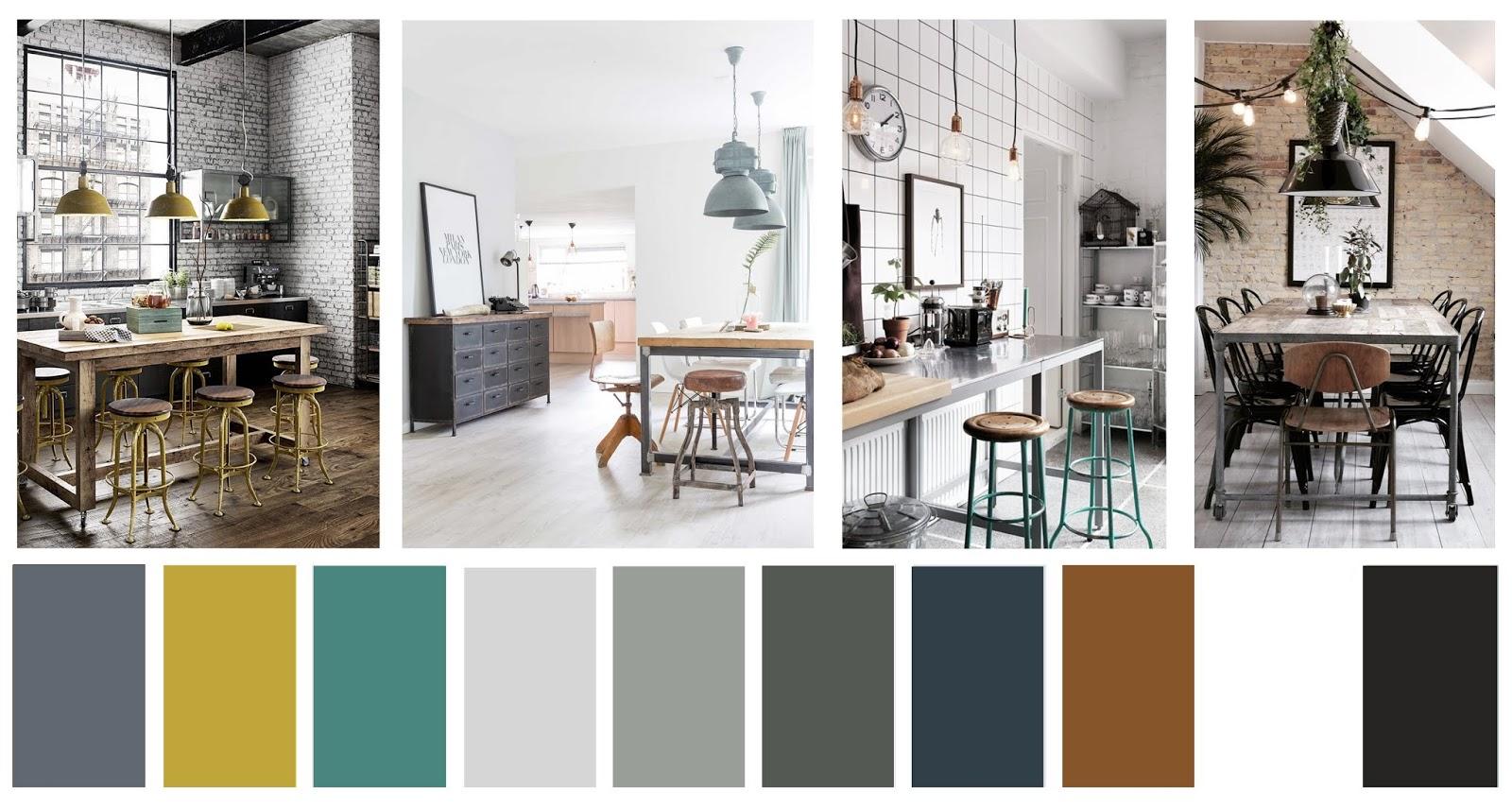 decoracion estilo industrial paleta de color