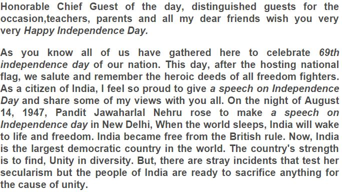 Pdf day indian independence speech