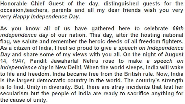 independence day speech in english for college students