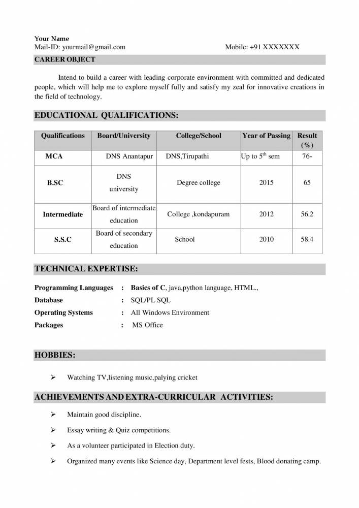 resume format for mca freshers