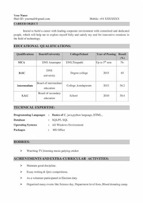 MCA Fresher Resume 1