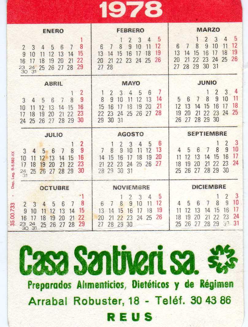 Calendario De 1978.Mis Calendarios De Bolsillo Pocket Calendars Santiveri