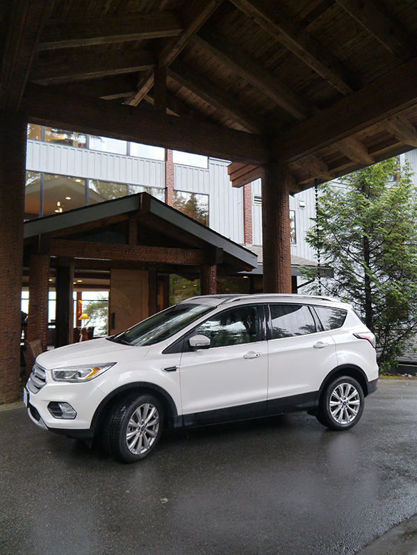 White 2017 Ford Escape parked in front of the Wickaninnish Inn