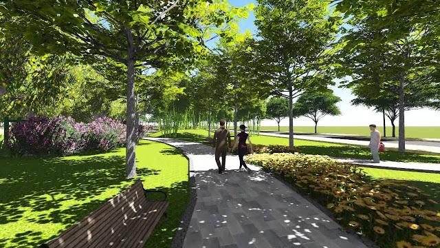 Khuôn viên cây xanh, đường dạo bộ