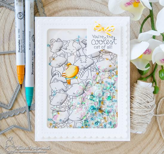 Cat crowd Shaker card by Tatiana Trafimovich | Company of Cats Stamp Set and Frames & Flags die set by Newton's Nook Designs #newtonsnook