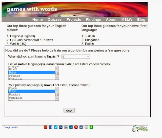 Dialekty języka angielskiego - test