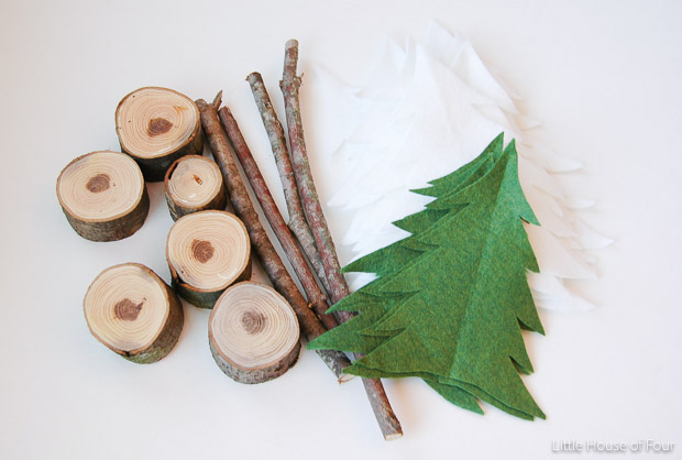 Supplies for DIY rustic felt trees (wood and felt)