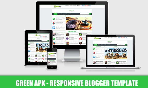 Green apk responsive blogger templates kaizentemplate for Pro photo blog templates