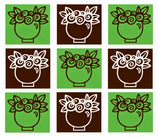 Inchie Grafik grün-braun