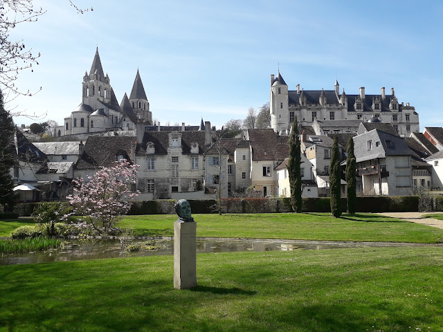 View of St Oar's church and chateau at Loches from the public gardens