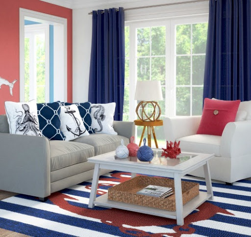 red, blue and white nautical living room idea