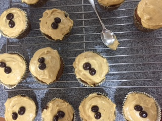 Caroline Makes Coffee Cupcakes With Chocolate Covered
