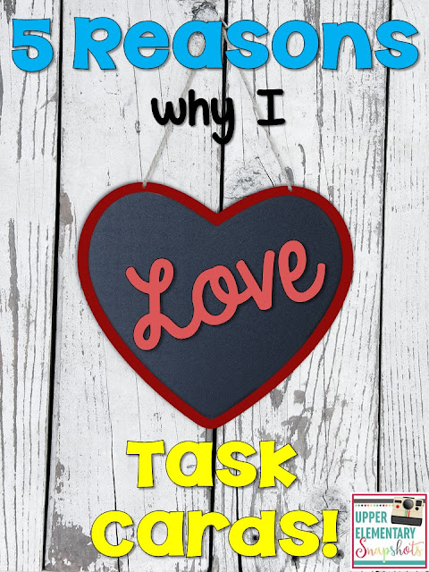 5 reasons why I love using task cards in the upper elementary classroom. This blog post contains a set of FREE nonfiction text feature task cards!