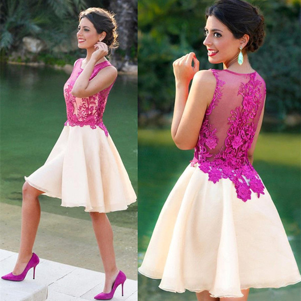 Fuchsia lovely Appliques Chiffon Sleeveless Lace Short Homecoming Dress