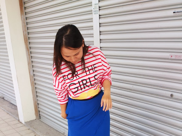 Outfit Diary : Red Striped Shirt + Royal Blue Maxi Shirt