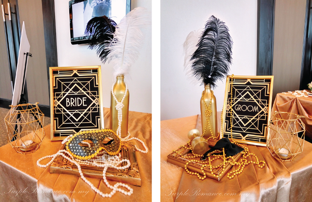 hatten hotel melaka, gold vases, gold beads, pearls, photo frame, tea candle holder, mask, black bow tie, feathers, elegant, wedding decoration, decorator vendor, malaysia, custom