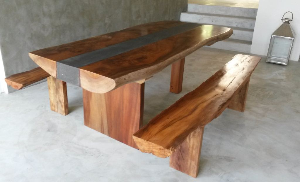 Saboga dise os mesa madera y concreto wood and concrete for Construir mesa de madera