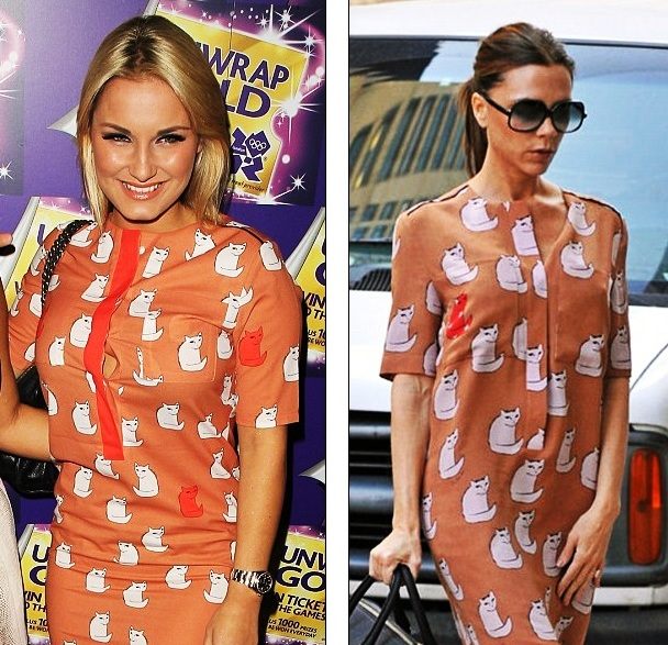 Sam Faiers Has Been Pinching La Beckham S Style With A Budget Version 109 99 From Celeb Boutique Of Victoria Own Design 495 Cat Print Dress