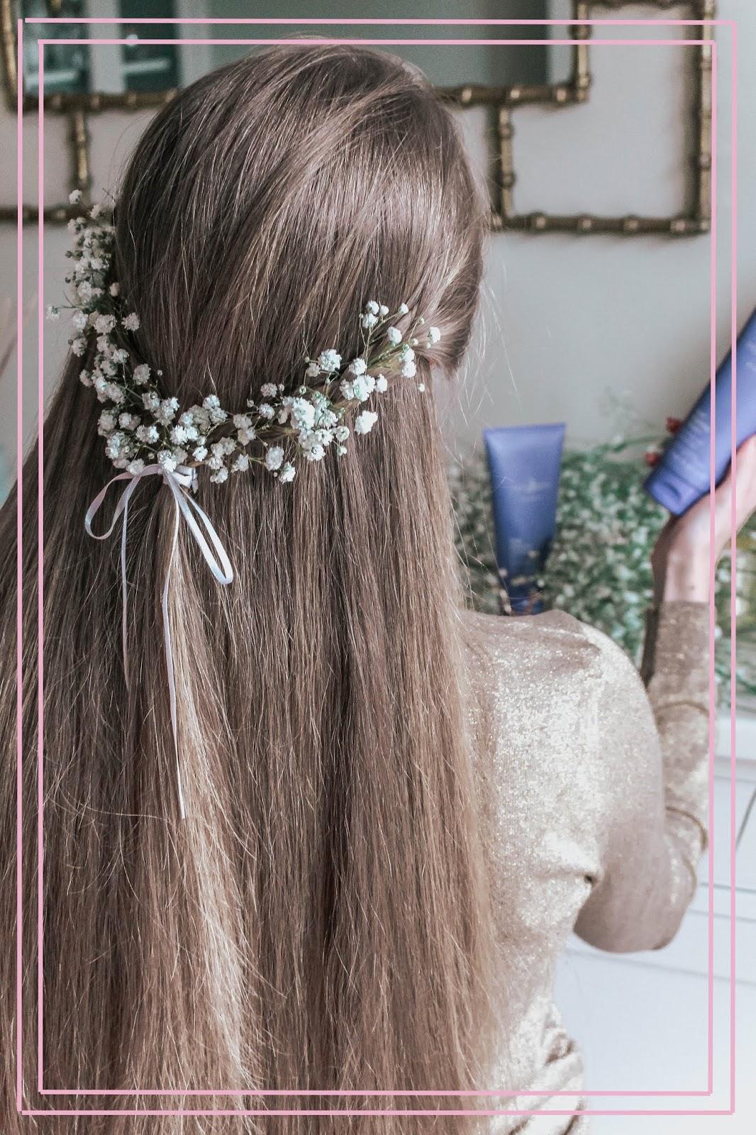 Gypsophila Long Hair Crown Braid