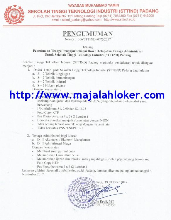 lowongan Dosen Tetap & Tenaga Administrasi Sekolah Tinggi Teknologi Industri (STTIND) Padang