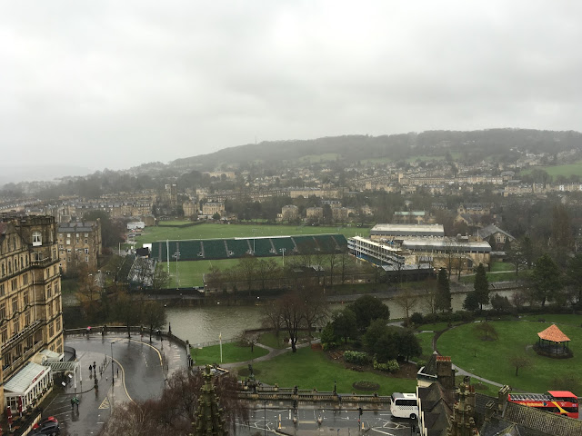 The view from Bath Abbey, looking over The Rec rugby ground to the East