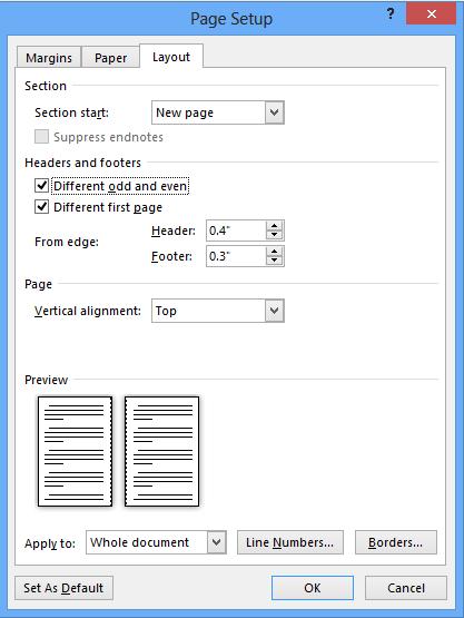 screenshot of the layout tab setup