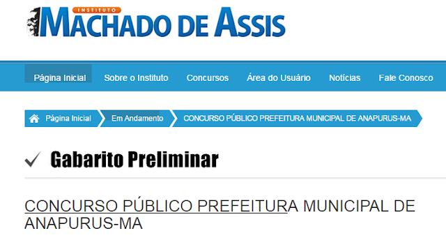Confira o gabarito preliminar das provas objetivas do Concurso Público de Anapurus