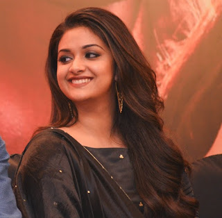 Keerthy Suresh in Black Dress with Cute Smile at Pandem Kodi 2 Press Meet