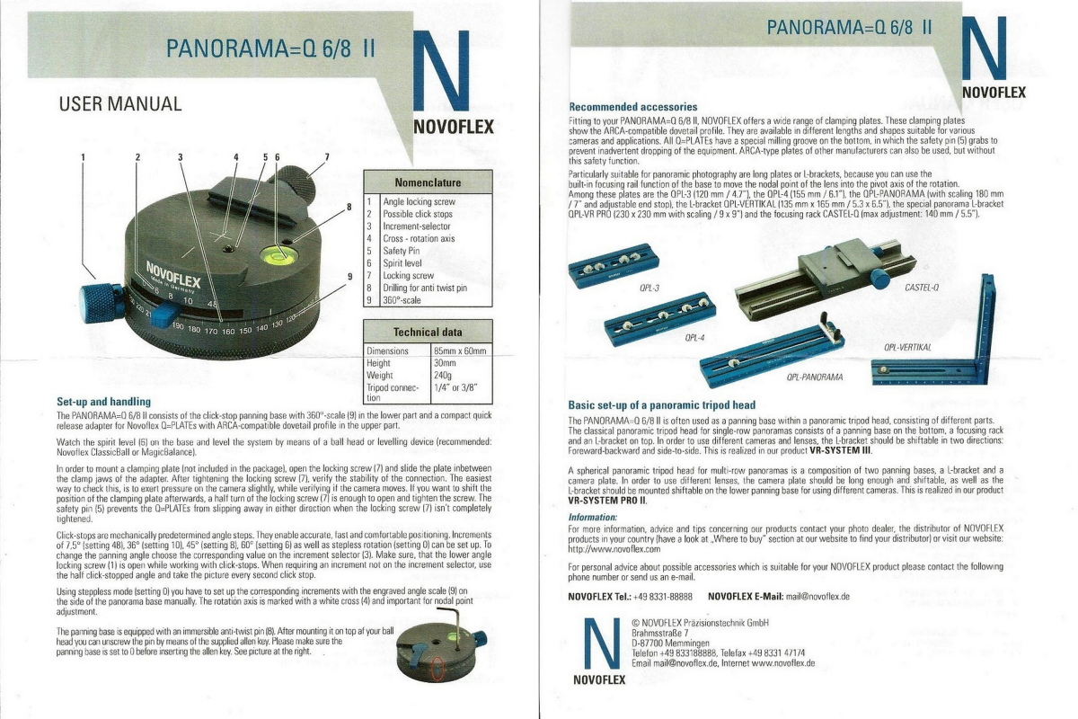 Novoflex Panorama=Q 6/8 II User Manual