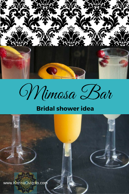 the mimosa bar for brunch, party, bridal showers