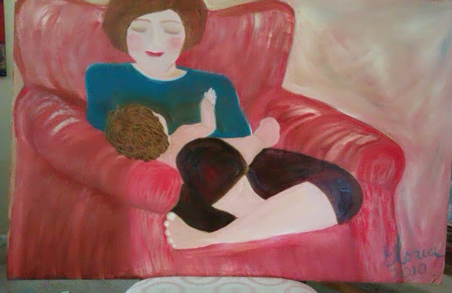 """Mother and baby napping"" oil painting by Gloria Poole of Missouri"