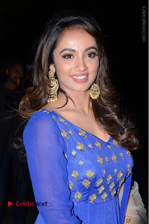 Telugu Actress Tejaswi Madivada Pos in Blue Long Dress at Nanna Nenu Na Boyfriends Audio Launch  0021.JPG