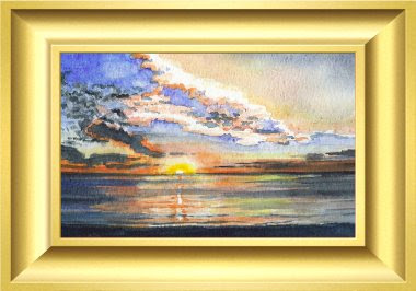 sunset, painting, art, Jillian  Crider, artist, seascape, watercolour, adelaide, watercolor, original,