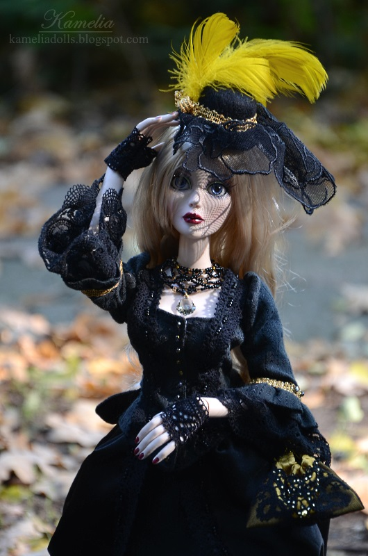 Black and gold victorian dress for a doll