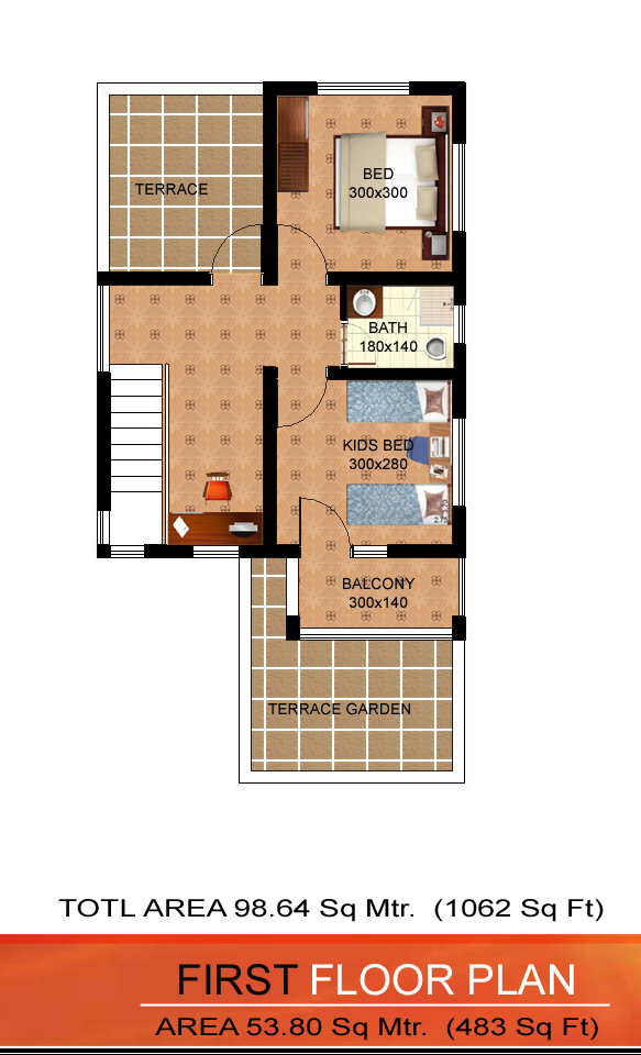 Low cost contemporary house plan 1060 sq ft 14 16 lakh
