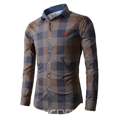 Lapel Fit Plaid Long Sleeve Men's Shirt