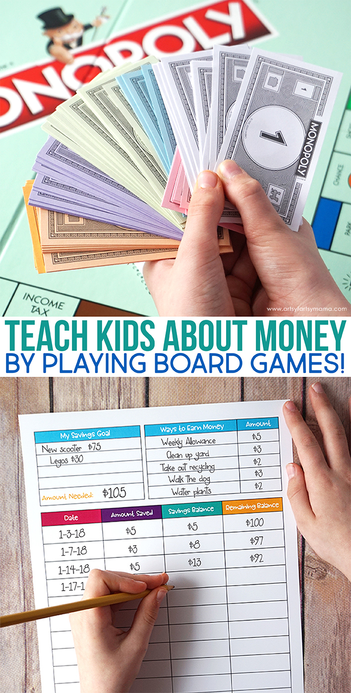 Teach kids about money by playing board games and download a Free Printable Savings Worksheet!