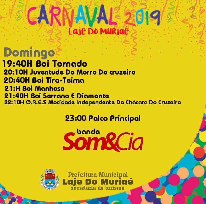 202279f621d Veja à programação do domingo de carnaval em Laje do Muriaé