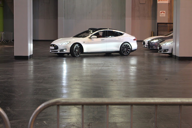 Photograph of the Tesla Model S auto-parking itself