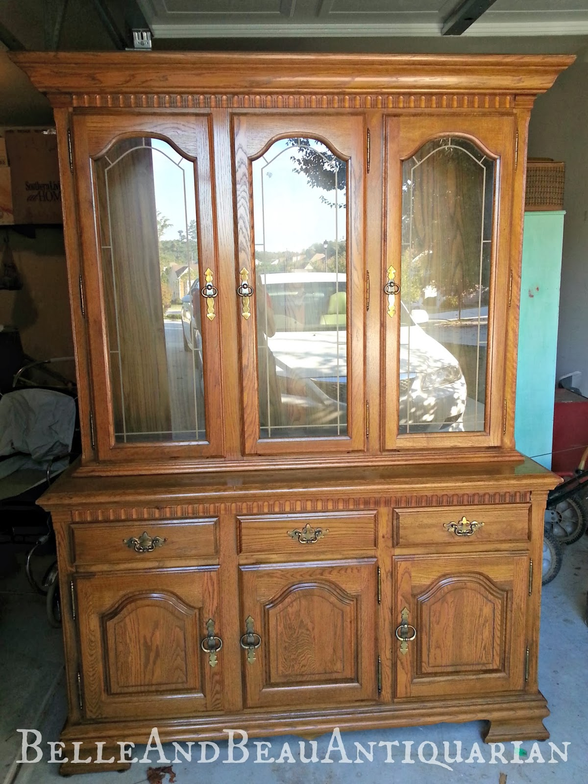 Belle Beau Antiquarian Distressed White China Cabinet