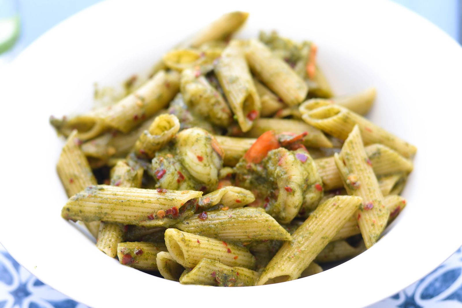 Penne Pasta with Pesto and Prawns