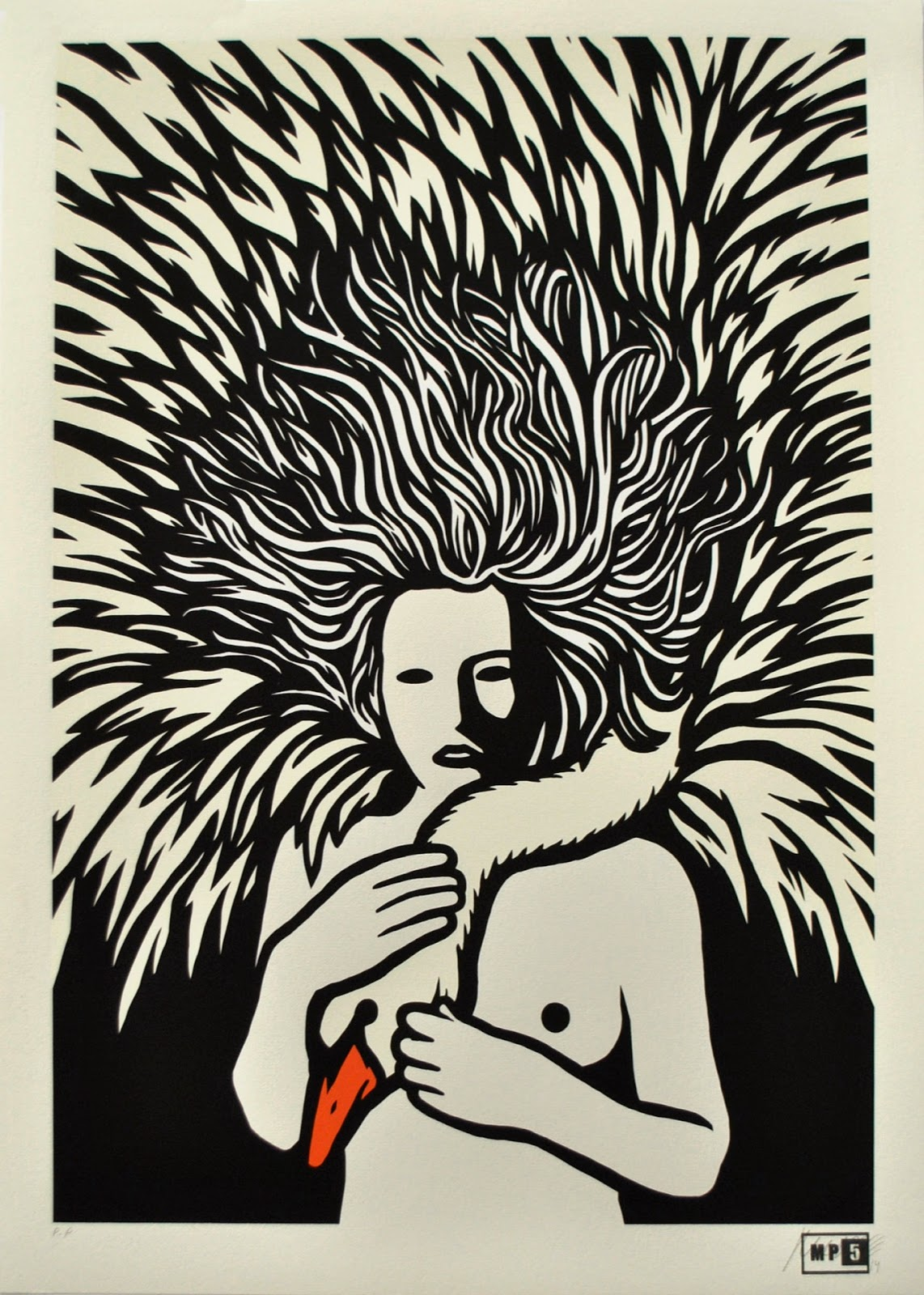 """The Great Mother"" is an edition of 35, 4 layer hand-pulled screen-print on hannhemule 300gsm paper, it measures 50 x 70 cm and comes signed and numbered by the Italian artist."