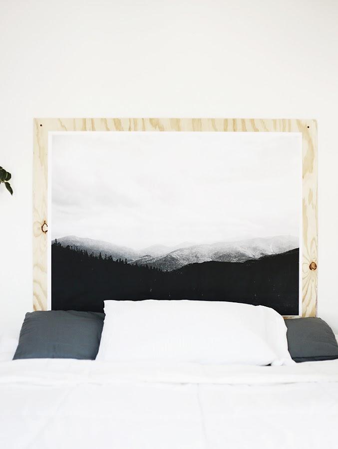 diy cabezal de cama con chapa de madera y foto