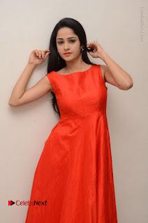 Telugu Actress Divya Nandini Stills in Orange Sleeveless Gown at Chennai Chaitrama Movie le Launch Event  0081.JPG