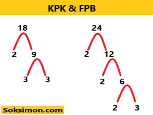 Gambar pohon faktor FPB dan KPK 18 dan 24